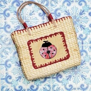 Vintage beaded ladybug wicker bag